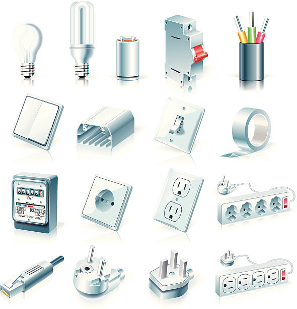 electrical supplies icon set - electrical wiring home stock illustrations, clip art, cartoons, & icons
