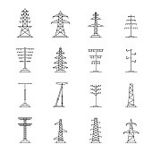 Electrical tower voltage icons set, outline style