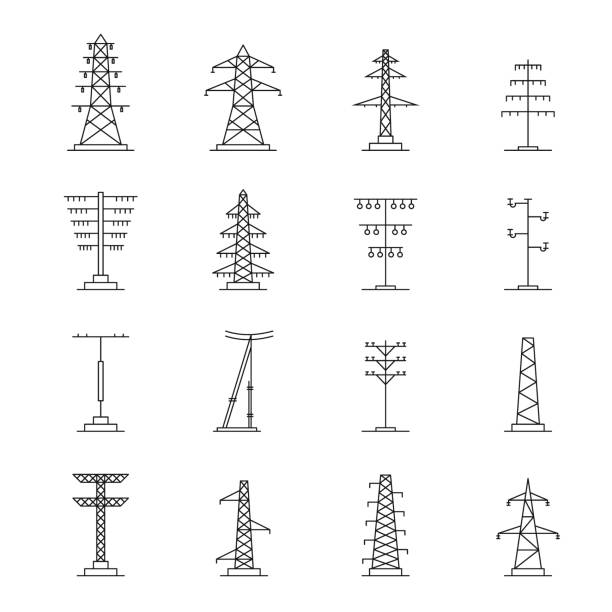 Electrical tower voltage icons set, outline style Electrical tower high voltage icons set. Outline illustration of 25 electrical tower high voltage vector icons for web tower stock illustrations