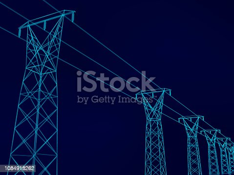 Background with wireframe electric tower and electrical wires. Dark blue background. Vector illustration.