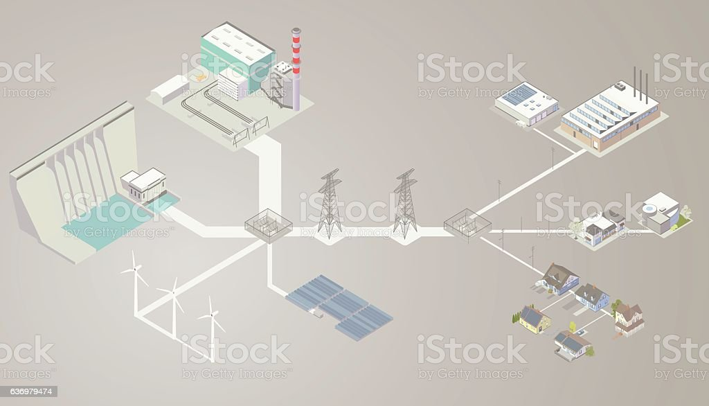 Electrical Transmission Diagram vector art illustration