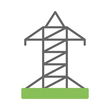 Electrical transmission tower icon - vector illustration. Electricity symbol.