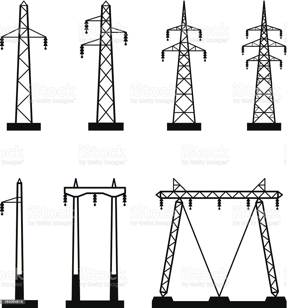 electrical transmission tower types stock vector art