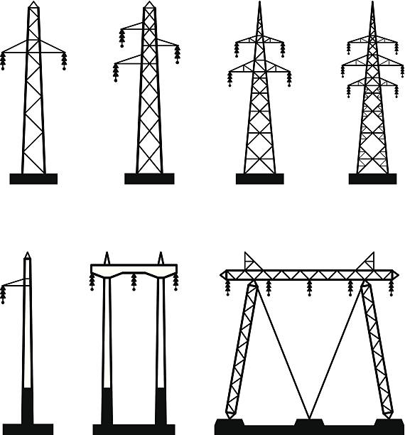 stockillustraties, clipart, cartoons en iconen met electrical transmission tower types - hoogspanningsmast