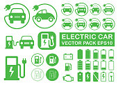 Electrical vehicle road charging station symbol icon set. Electric car logo sign button collection. Eco transport traffic energy power charge. Vector illustration image. Isolated on white background.