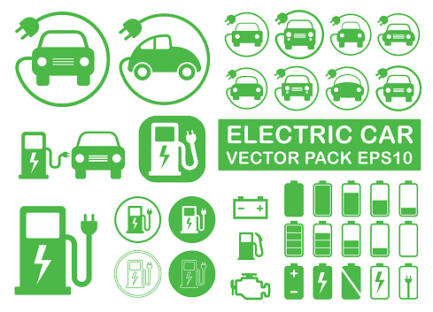 Electrical Vehicle Road Charging Station Symbol Icon Set Electric Car Logo Sign Button Collection Eco Transport Traffic Energy Power Charge Vector Illustration Image Isolated On White Background Stock Illustration - Download Image Now