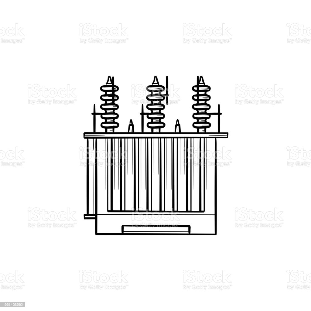 Elektrische Spannung Transformator Handgezeichnete Kontur Doodle ...