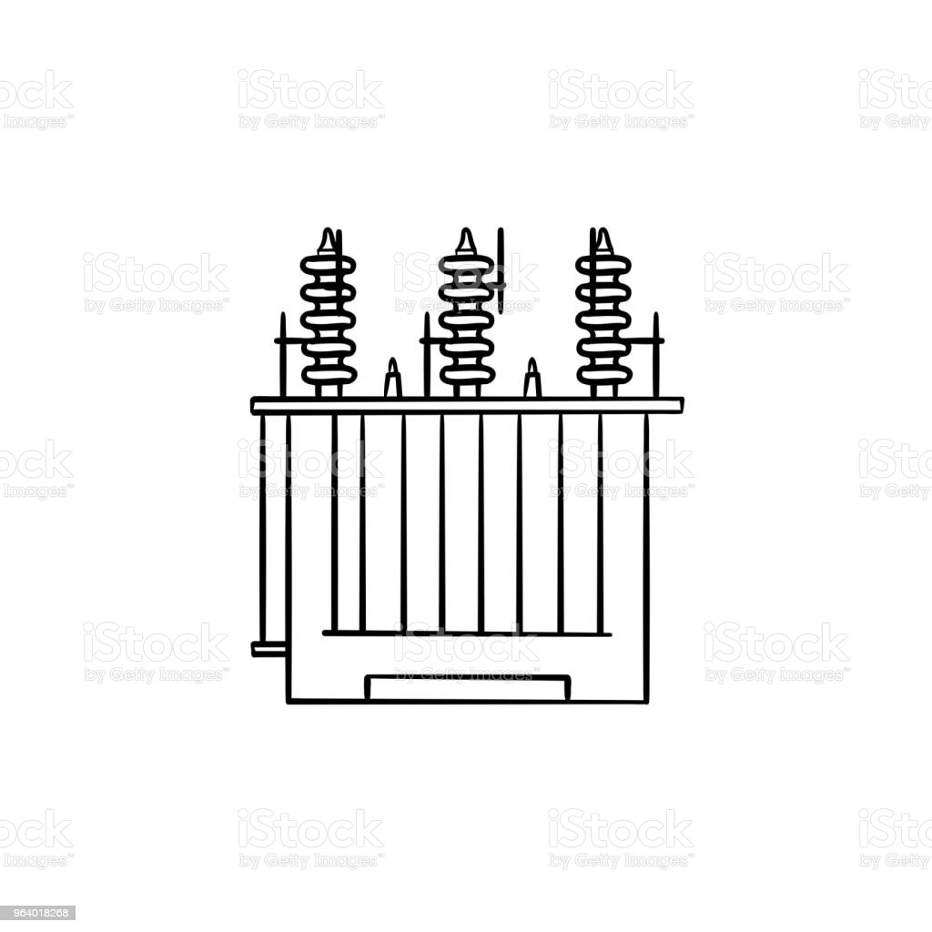 Electrical voltage transformer hand drawn outline doodle icon - Royalty-free Authority stock vector
