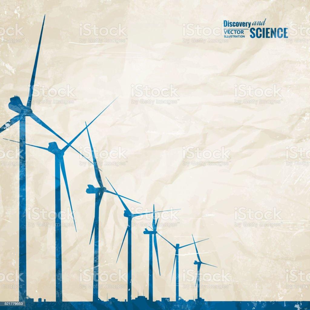 Electrical windmill vector art illustration