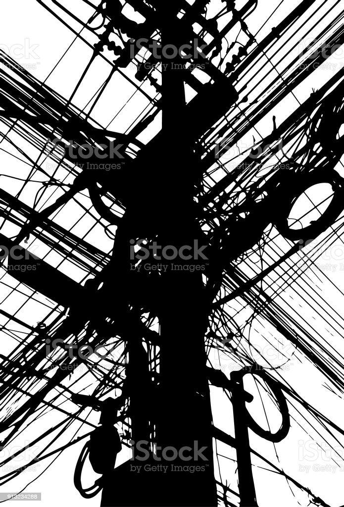 Elektrische Leitungen Netz Masse Hängen Hölzerne Pylon Stock Vektor ...