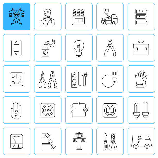 Electrician and electricity services. Line  icon set. Editable stroke. vector art illustration