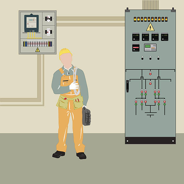 stockillustraties, clipart, cartoons en iconen met electrician and equipment - hoogspanningstransformator