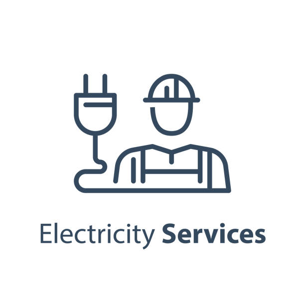 Electrician and plug, electricity services, professional occupation