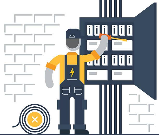 ilustrações, clipart, desenhos animados e ícones de eletricista no trabalho - eletricista