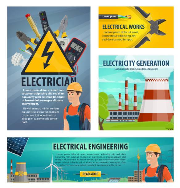 ilustrações, clipart, desenhos animados e ícones de cartaz de vetor engenharia eletricista - eletricista