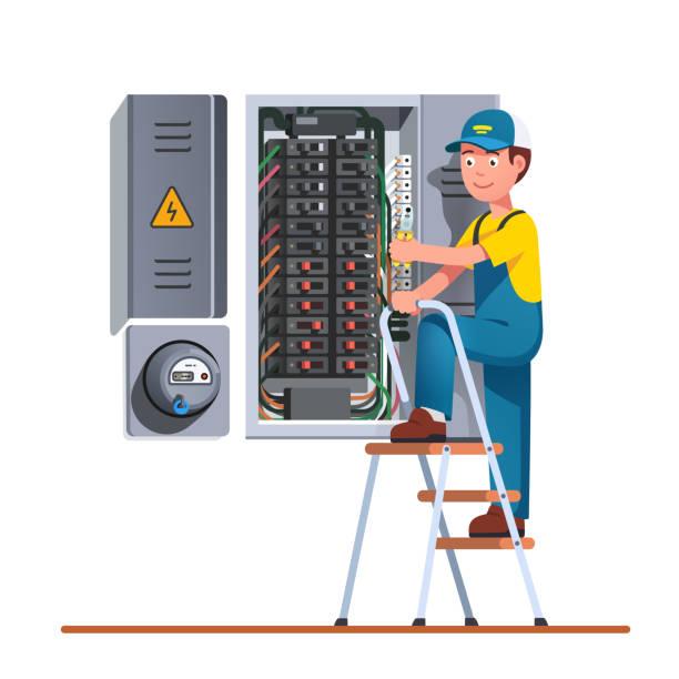 ilustraciones, imágenes clip art, dibujos animados e iconos de stock de ingeniero electricista que trabaja con caja de fusibles - amperímetro