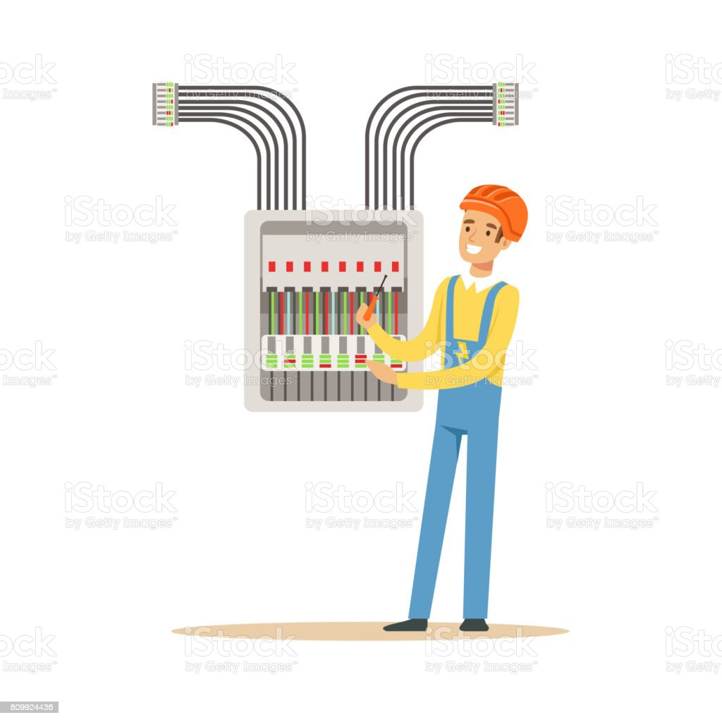 Electrician Engineer Screwing Equipment In Fuse Box Electric Man Art Performing Electrical Works Vector Illustration Royalty