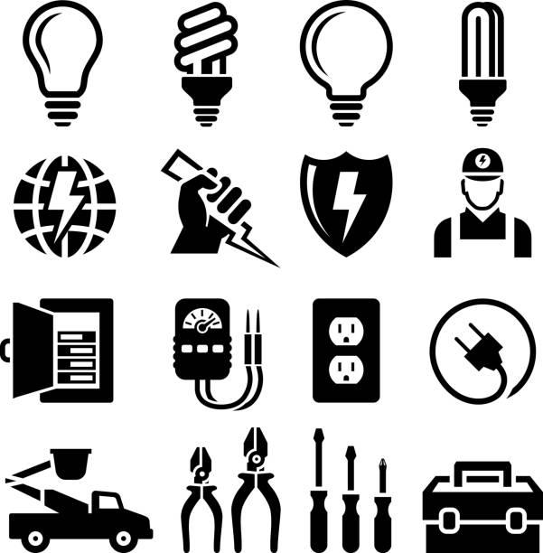 Equipo electricista salida & reparación de conjunto de iconos en blanco y negro - ilustración de arte vectorial