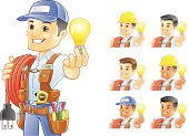 Electrician, Handyman, Construction Worker, holding light bulb