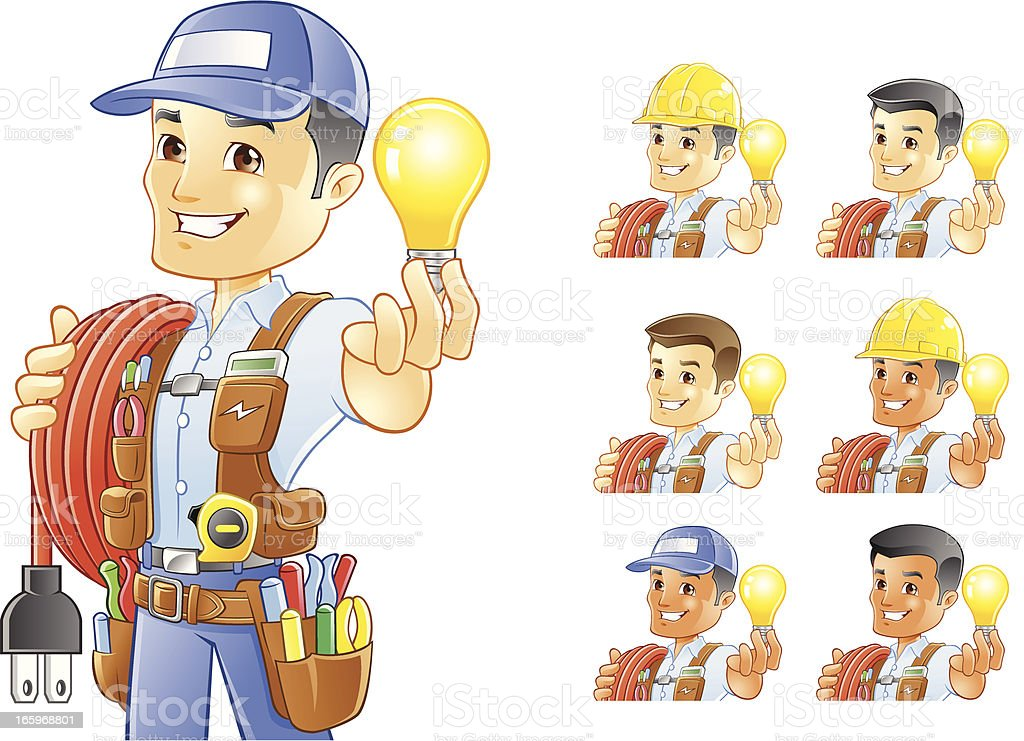 電気技師、便利屋、建設作業員、保持電球 ベクターアートイラスト