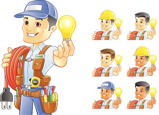 EL ELECTRICISTA, un manitas, Trabajador de construcción, con bombilla - ilustración de arte vectorial
