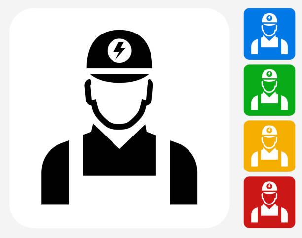 Electricista plano iconos de diseño gráfico - ilustración de arte vectorial