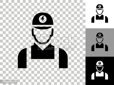 istock Electrician Icon on Checkerboard Transparent Background 1248402215