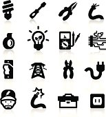 Electrician icons set - Elegant series