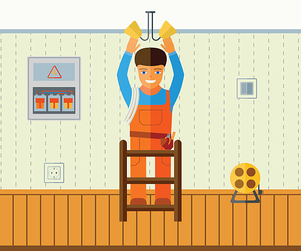 electrician installs lighting in  apartment. - electrical wiring home stock illustrations, clip art, cartoons, & icons