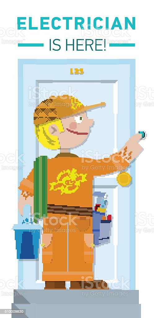 Electrician is here vector art illustration