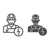 Electrician line and glyph icon. Man electric vector illustration isolated on white. Electricity worker outline style design, designed for web and app. Eps 10