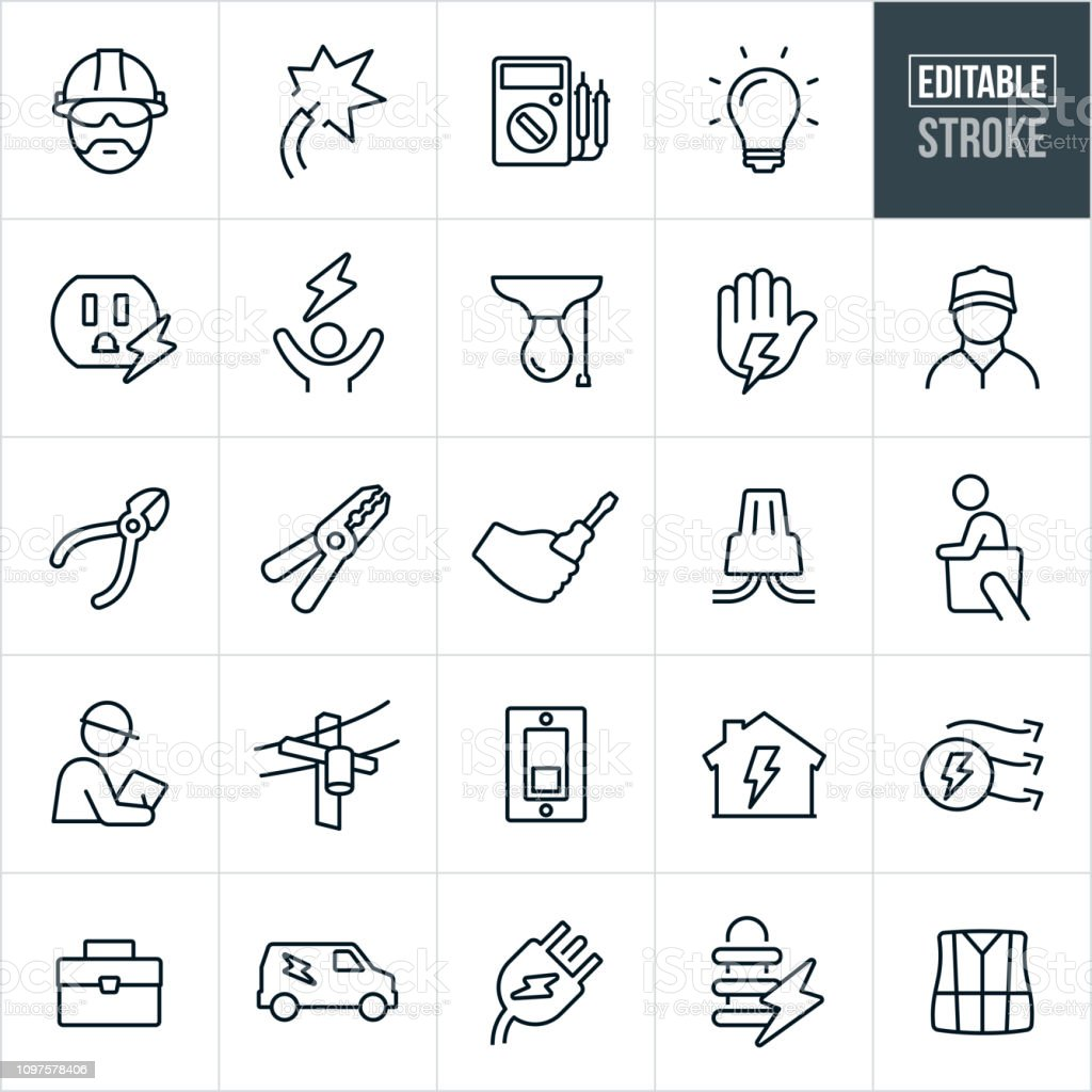 Elektriker linje ikoner - redigerbar Stroke - Royaltyfri Arbetsverktyg vektorgrafik