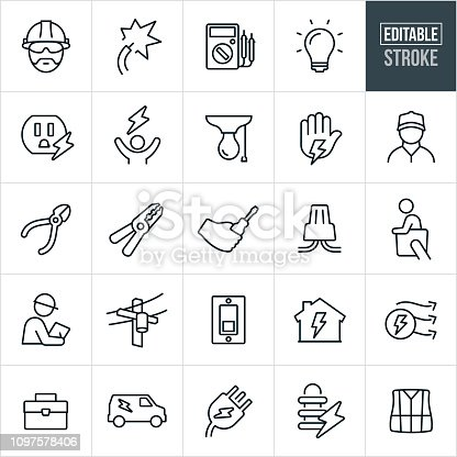 A set of electrical or electrician icons that include editable strokes or outlines using the EPS vector file. The icons include electricians, workers, electricity, wires, multi-meter, tools, light bulb, electrical outlet, power, wire cutters, wire strippers, wire nut, cherry picker, electrical worker, inspections, hard hats, power lines, light switch, tool box, work van, electrical plug, electrical transformer and safety vest to name a few.