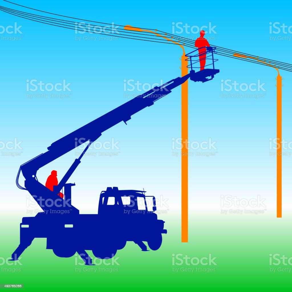 Electricista, reparar algo en un contacto de alimentación.   Ilustración vectorial - ilustración de arte vectorial