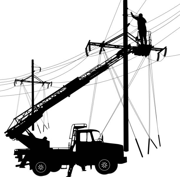 Electrician, making repairs at a power pole. Vector illustration vector art illustration