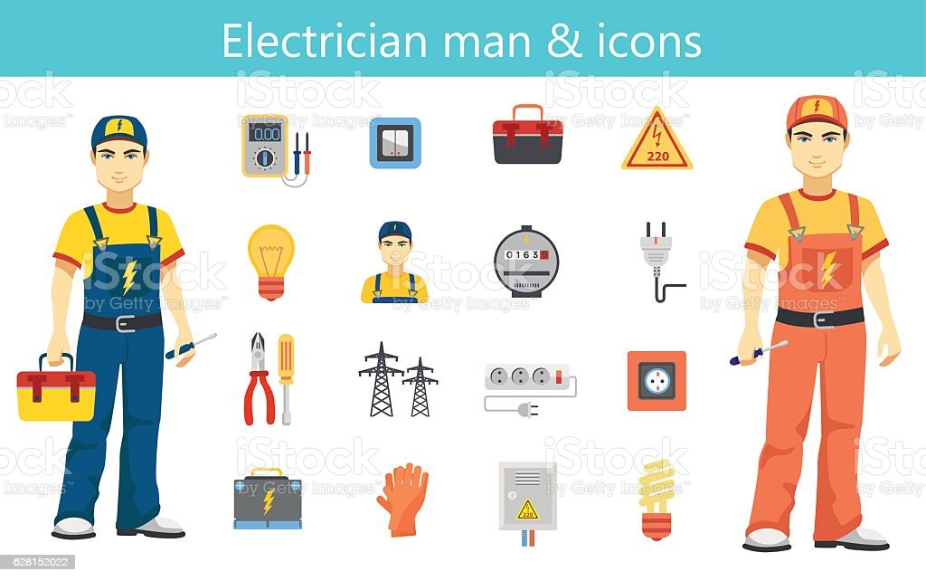 Electrician man concept and color flat icons set isolated. vector art illustration