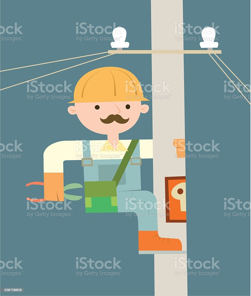 Electrician on the pole vector art illustration