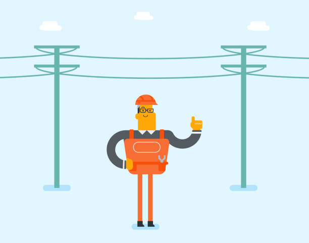 Electrician repairing an electric power pole Young caucasian white electrician in hard hat standing on the background of electric power pole. Lineman repairing an electric power pole. Electrician pointing finger up. Vector cartoon illustration. football lineman stock illustrations