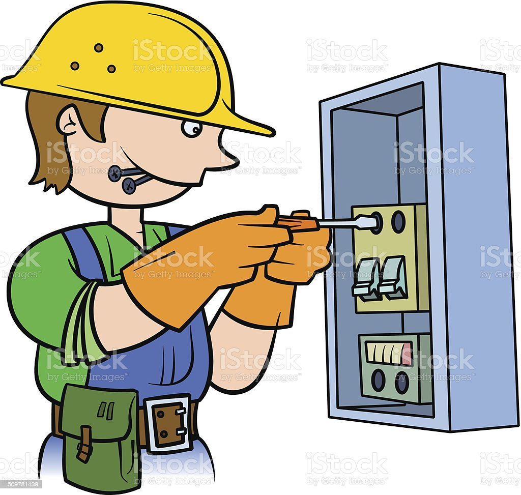 cartoon electrical fuse box electrician repairing an electrical panel stock vector art
