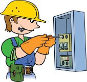 Electrician repairing an electrical panel.