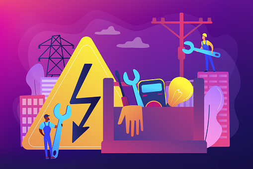 Electrician services concept vector illustration