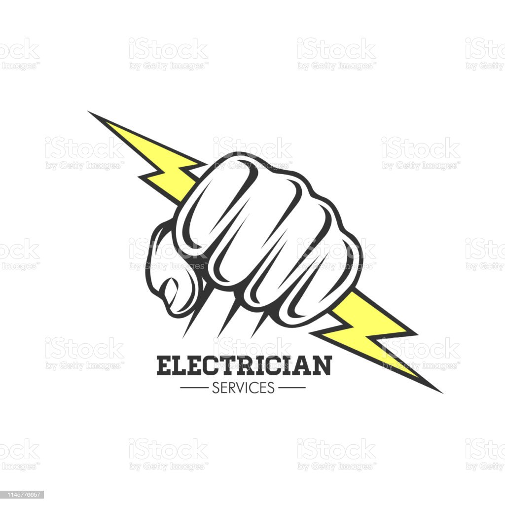 Electrician Services Hand Holding A Lighting Bolt Symbol