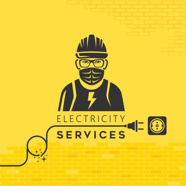 Electrician Services in Coronavirus Quarantine vector art illustration