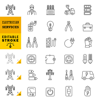 Electrician Services Line Icons. Editable Stroke.