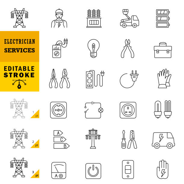 Electrician Services Line Icons. Editable Stroke. vector art illustration