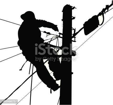 Electrician black and white silhouette working in a pole