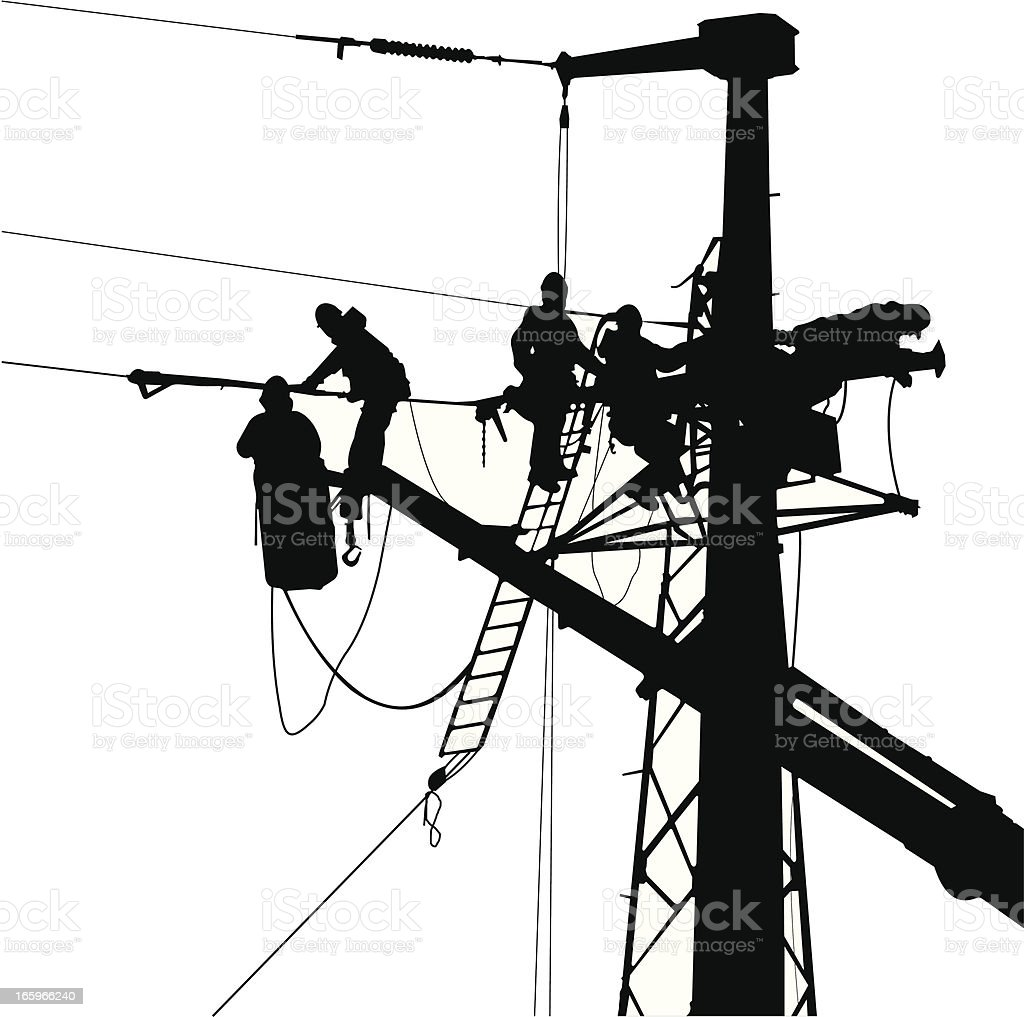 electrician team in a electric tower stock vector art