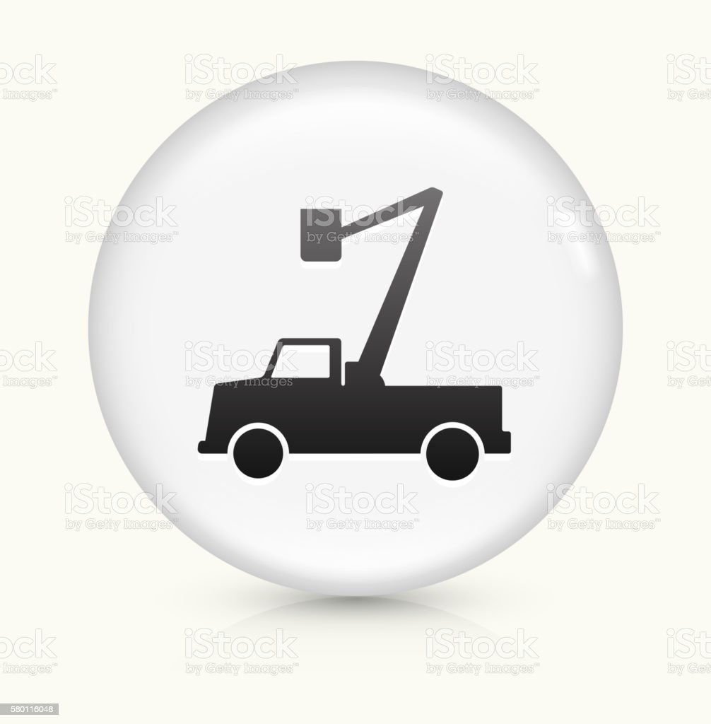 Electrician Truck icon on white round vector button vector art illustration