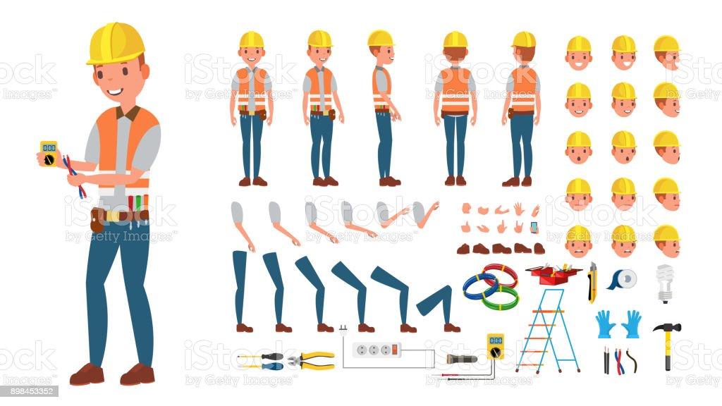 電気技師のベクトル。アニメのキャラクター作成セットです。電子ツールおよび装置。完全な長さ、前面、サイド、背面、アクセサリー、ポーズ、感情、ジェスチャーに直面します。フラットの漫画イラストを分離 ベクターアートイラスト