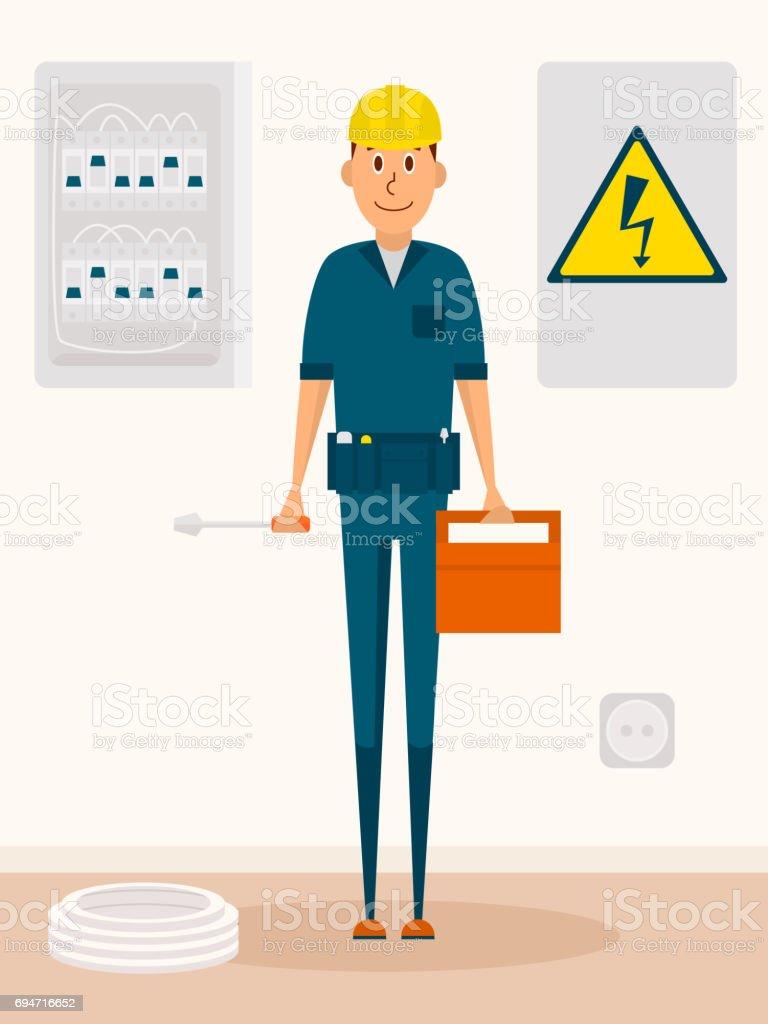 Personagem de desenho de vetor de eletricista. Homem de serviço elétrico com caixa de ferramentas e chave de fenda nas mãos. Sinal de alta tensão - ilustração de arte em vetor